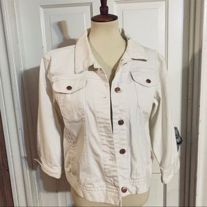 Vintage 1990s Bill Blass White Jean Jacket. Large